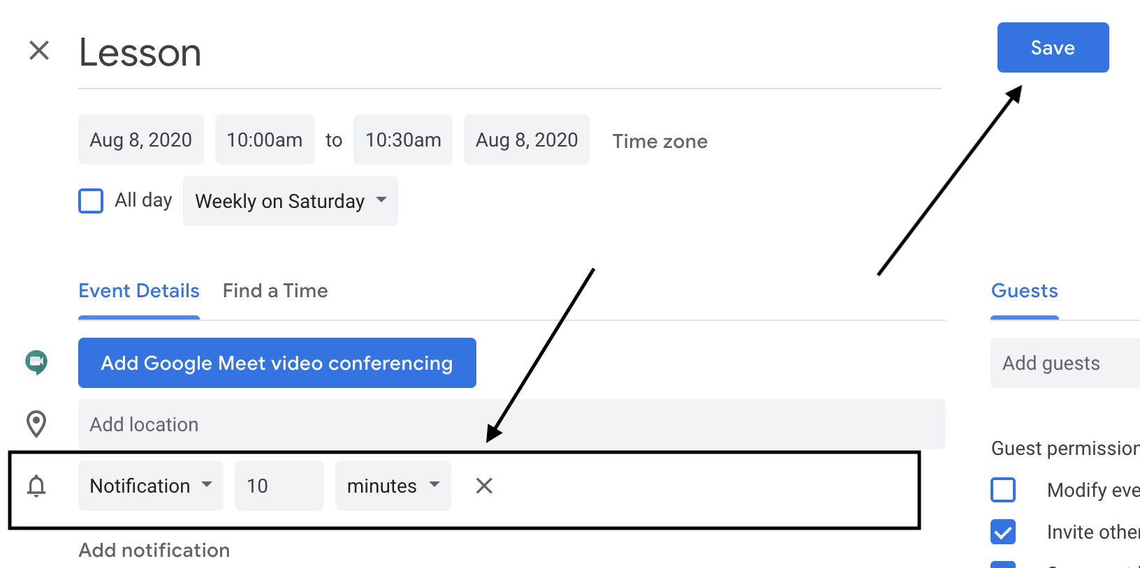 How to Set Lesson Reminders Google Cal w/Arrows